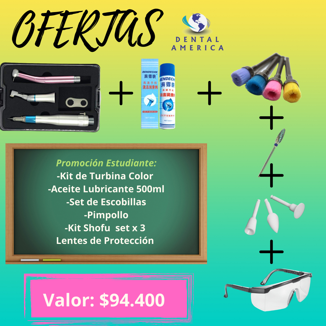 Kit de Turbia Color +Aceite Lubri. 500ml + Set de Escobillas + Pimpollo + Kit Shofu x 3 + Lentes Protección